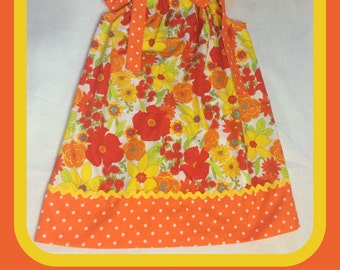 Flowers and Polka Dots Pillowcase Dress