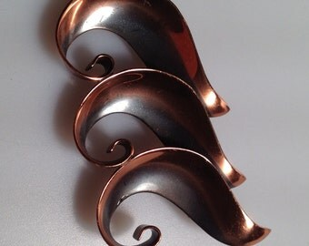 1950s/60s Vintage COPPER Brooch Signed Bell MODERNIST Pin Eames Era Style Mid Century Pin