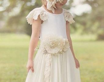 Gorgeous Ivory Cream Handmade  Flower Sash Wedding Sash Pregnancy Maternity Sash Vintage Lace