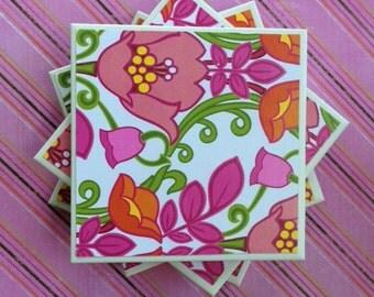 Coasters Vera Bradley, Lilli Bell Pattern, Pink, Green, White, and Orange, Flowers, Felt-Backed, Tile Set of Four
