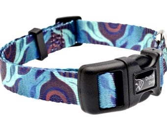 Aqua Flora Fashion Dog Collar - Made From Recycled Webbing