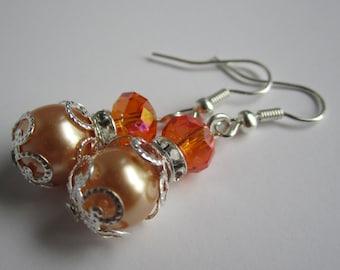 Orange Bridesmaid Earrings Fall Wedding Maid of Honor Orange Wedding Bridesmaid Gift