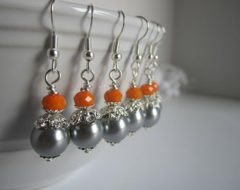 Orange and grey Bridesmaid Earrings Fall Autumn Wedding Maid of Honor Bridal Gift