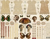 4 Vintage FAIRY PAPER DOLLS -Sepia & Lace - Instant Printable Digital Sheet