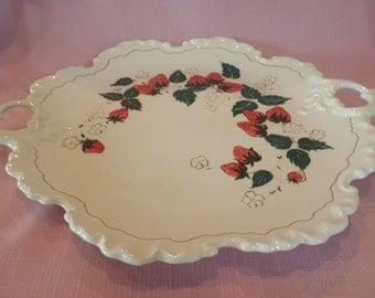 Ceramic Cake Plate Strawberries Handpainted Scroll Handles