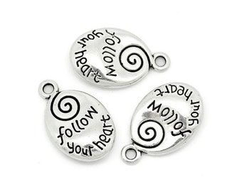 6 Oval FOLLOW YOUR HEART Drops Charms with Swirl Double Sided Silver Tone Inspirational Charm Jewelry 21x17 mm