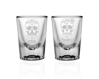 Dia de los Muertos Couples Shot Glass Set