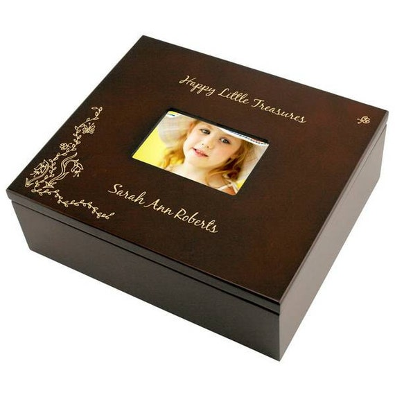 Engraved flowers rosewood photo keepsake box for Fortune cookie jewelry box