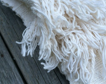 organic handwoven/ multi-purposed baby blanket (extra large sized yarn)  : natural white cotton