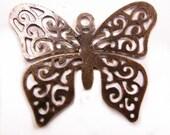 8pc antique copper iron butterfly pendant-4169