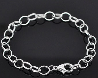 12 sets of silver finish bracelet making with lobster clasps-9397