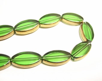 10pc 19X10mm copper plated green flat oval glass beads-8864