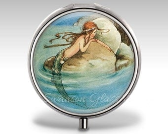 Mermaid Pill Case, Pill Box, Pill Container, Trinket Box, Gift for Her, Mint Case, Jewelry Box P01
