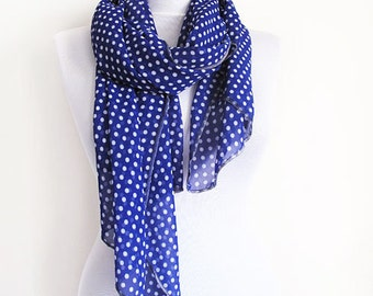 Dark Blue Scarf, Polka Dot Summer Scarf, Fashion Scarves, For Women Scarf, Women Accessories, Mother's Day Gifts