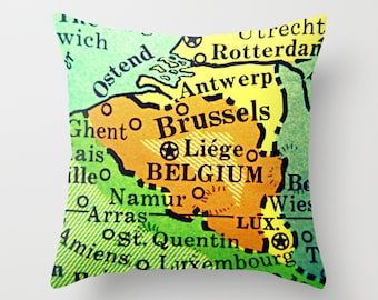 BELGIUM Map Pillow Cover,  Vintage Belgium Map Pillow, Belgium Gift, Travel Gift,  Map Accent Pillow, Throw Pillow, Brussels, Lux, Liege
