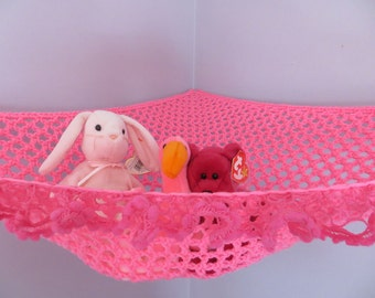 Crochet toy net hammock in bright pink with fancy ruffle trim, stuffed animal storage MADE TO ORDER