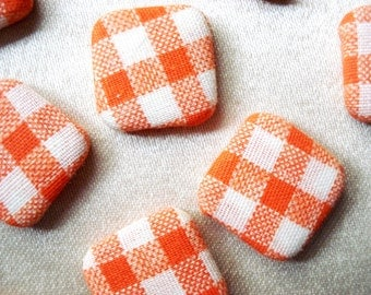 Buy One Get One Free - 6 Vintage Fabric Buttons - Gingham Buttons - Checked Buttons