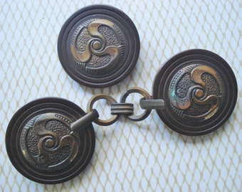 Art Deco Button & Toggle Set - Antique Coat Toggle - Art Nouveau Celluloid Toggle Set - Extra Large Coat Button Toggle Set