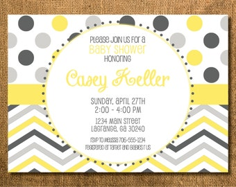 Polka Dots and Chevron Baby Boy or Girl Shower Invitation - Blue, Gray, Yellow, Pink