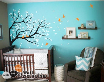 "Tree Wall Decal - Nursery Wall Decoration - ree Wall Sticker - Corner White Tree decal vinyl Mural sticker- Large: approx 75"" x 51"" - KC051"