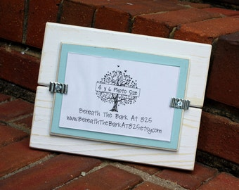 Picture Frame - Holds a 4x6 Photo - Distressed Wood - White & Sky Blue