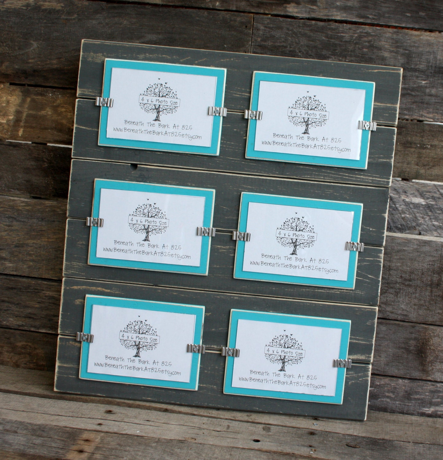Collage Picture Frame Distressed Wood Holds 6 4x6 Photos