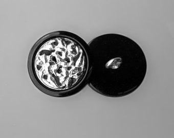 """10 Vintage 7/8"""" Metal and Plastic Shank Buttons. Silver Metal Shank and Abstract Design. Shiny Black Plastic Base. Sewing. Item 1229MP"""