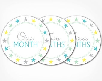 Monthly Baby Stickers for Boys - PRINTABLE DIY - Instant Download - Month by Month Baby Photo Prop Blue Baby Age Stickers - 12 Month Sticker