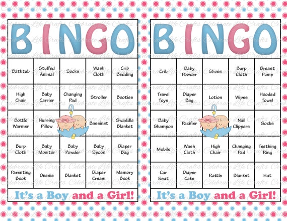 30 baby shower bingo cards printable party baby boy and girl twins il570xn pin it solutioingenieria Gallery