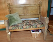 CLEARANCE: Price Reduced Antique Repurposed Oak 3/4 Bed made into a beautifully detailed Bench for Mudroom or Entryway