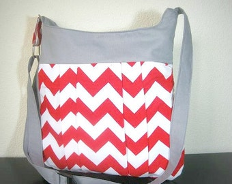 Red Chevron Bag - Crossover shoulder Chevron bag / Tote / purse / bag, chevron bag / messanger bag / diaper bag