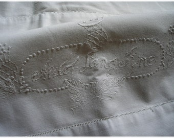 Vintage Pillowcase Embroidered Auld Lang Syne All White
