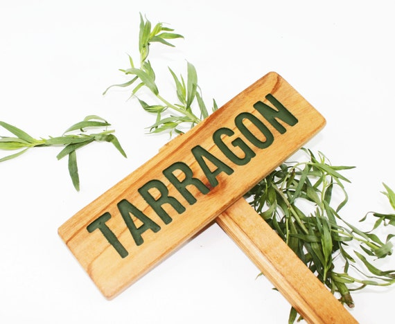 TARRAGON Herb Garden Sign, Painted & Oil Sealed Cedar Wood: Hand Routed, Herb Plant Marker, Garden sign, HERBS