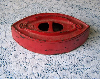 Vintage Cast Iron. Paper weight Industrial Decor-Red Iron