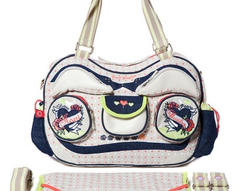 large Designer Baby nappy changing bag - diaper bag - Radio Ga Ga by Sweet Morning - Heartbreaker for twins/ as twin bag