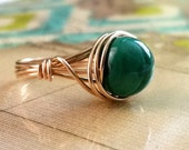 Malachite Ring, Green Gemstone Jewelry, Gold-Filled Wire Wrapped Ring