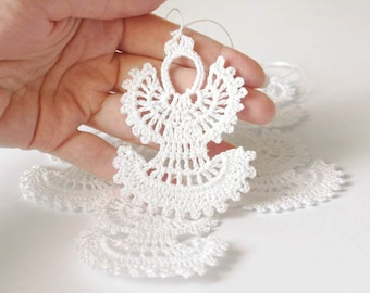 Crochet Christmas angels Hanging Christmas ornaments White crochet angels Christmas tree decorations