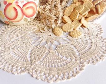 Pineaple crochet doily Cream lace doilies Cotton flower doilie Round lace doily Crochet doilies centerpiece 153