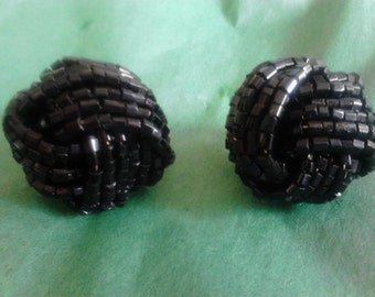 Black Beaded Cluster Earrings