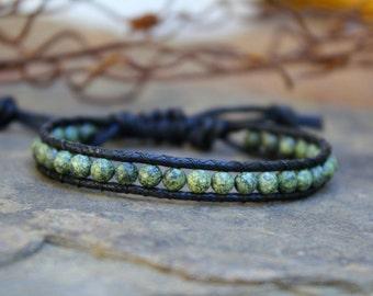 Vegan Wrap Bracelet, Russian Serpentine, Single Wrap Bracelet,  Adjustable Wrap Bracelet, Mens Bracelet, Vegan Jewerly,  Unisex Bracelet