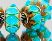 3D Tan Blue and Green Lampwork Bead for  European Style Charm Bracelet -.925 Silver Core