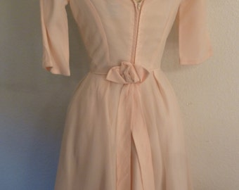 SALE - 1950s Pale Pink Organza dress. Small Size.