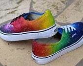 Custom Painted Rainbow Galaxy Shoes