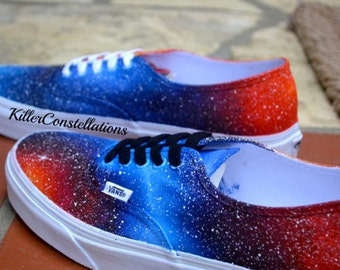 Custom Painted Galaxy Shoes Fire and Ice (You Mail me Your Shoes)