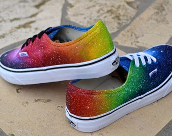 Custom Painted Rainbow Galaxy Shoes