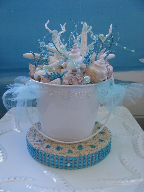 seashell wedding cake topper bucket starfish beach wedding. Black Bedroom Furniture Sets. Home Design Ideas