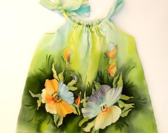 Pansy flower silk blouse for kids. Green , yellow flowers . Made to order!