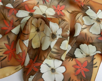 Silk hand painted batik scarf . Brown and white silk scarf. Warm colors scarf. Ready to ship.