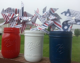 Memorial Day Patriotic Handpainted Mason Jars WITH Pinwheels, Red White and Blue Mason Jars  4th of July Summer Decor, Welcome Home Military