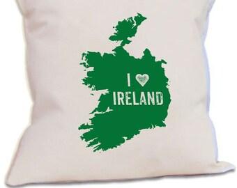 I Love Ireland Pillow Cover Irish Green Couch Cushion Saint Patricks Day Decor